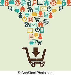 shopping design - shopping design over beige background....