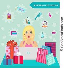 shopping, discounts., vendita, abbicare, girl., lei, linea