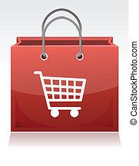 shopping, disegno, carrello, illustrazione