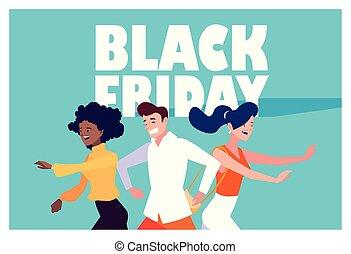 shopping, disegno, nero, venerdì, vettore