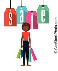 shopping, disegno, persone