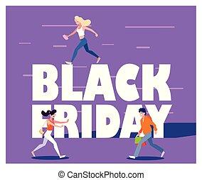 shopping, disegno, vettore, venerdì, nero