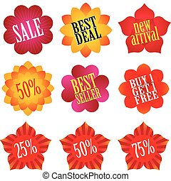 Collection of flower shaped shopping display labels, visit my portfolio if you need similar images.