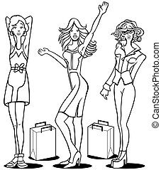 Shopping Divas Line Art - Cartoon of young women who love to...