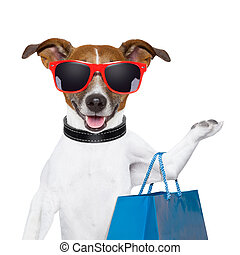 shopping dog - funny dog with a big blue shopping bag and...