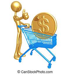 shopping, dollaro, carrello