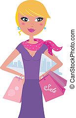shopping donna, biondo, felice