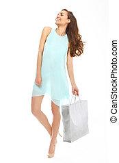 shopping, donna, con, bag.