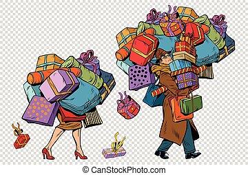 shopping donna, coppia, vendite, vacanza, uomo