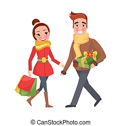 shopping donna, coppia, vigilia, insieme, natale, uomo
