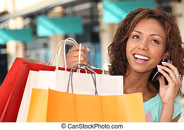 shopping donna, e, parlando telefono