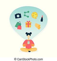 shopping donna, giovane, smartphone, linea, usando