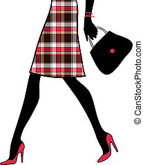 shopping donna, handbag., business., illustrazione, vettore,...