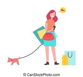 shopping donna, illustrazione, capelli, vettore, rosso
