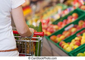 shopping donna, immagine, spinta, carrello, raccolto, negozio