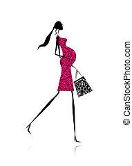 shopping donna, incinta, borsa, disegno, tuo