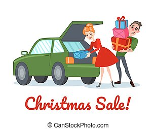 shopping donna, inverno, famiglia, coppia, illustrazione, sale., holidays., vettore, gifts., natale felice, uomo