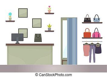 shopping donna, ounter, computer, cremagliere, negozio