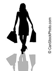 shopping, donna, silhouette