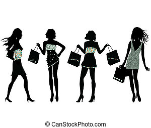 shopping, donne, silhouette