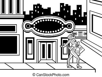 Shopping Downtown Girl Line Art