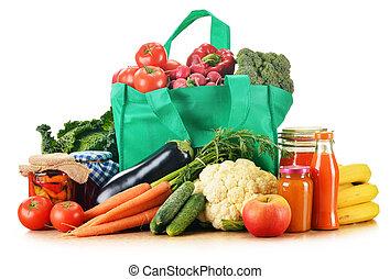 shopping drogheria, assortito, isolato, borsa, verde, prodotti