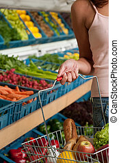 shopping drogheria, cibo, -, cesto, negozio