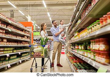 shopping drogheria, cibo famiglia, carrello, negozio