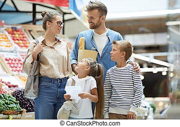 shopping drogheria, contemporaneo, famiglia, giovane