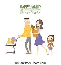 shopping drogheria, famiglia, carrello, negozio, felice
