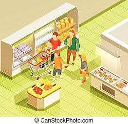 shopping drogheria, famiglia, isometrico, supermercato, vista