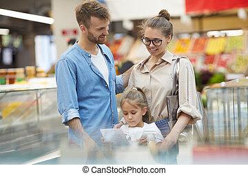 shopping drogheria, supermercato, famiglia, felice