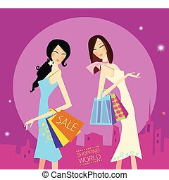 Shopping girls in the city. Lifestyle fashion illustration. Vector format.