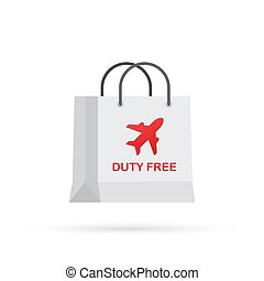 Shopping duty free paper bag. Cartoon cute icon shop sale packaging. Vector illustration.
