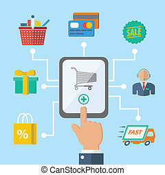 E-commerce internet shopping hand with mobile device and retail icons vector illustration