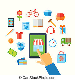 E-commerce shopping with hand touching screen and icons vector illustration.