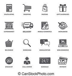 Shopping E-commerce Icons - E-commerce shopping icons set of...