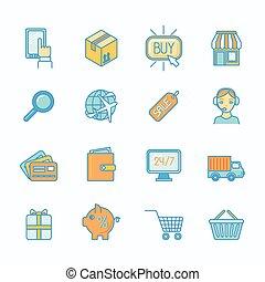 Shopping e-commerce icons set flat line