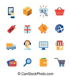 Shopping e-commerce icons set flat