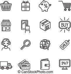 Shopping e-commerce icons set flat outline