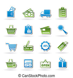 shopping, e, sito web, icone