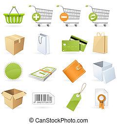 shopping, e, vendita dettaglio, icone