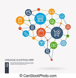 Shopping, ecommerce, market, retail and online sales...