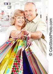 shopping elderly people