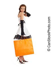 shopping, elegante, saco, laranja, #3, senhora