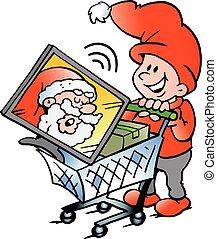 shopping, elfo, illustrazione, vettore, cartone animato, felice