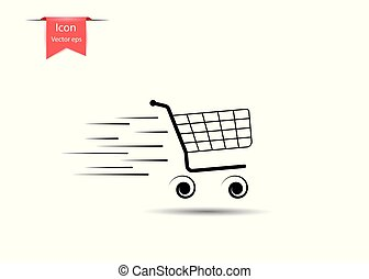 Shopping empty shopping cart in motion, with lines of speed. The Concept Of Sales. Vector design element isolated on light background.