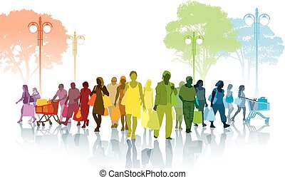 Shopping - Colorful crowd of shopping people walking on a...