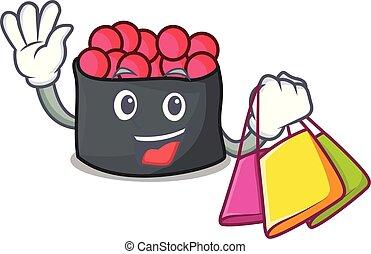 shopping, estilo, ikura, personagem, caricatura