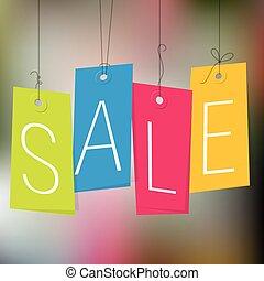 shopping, etichette, vendita